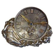 Art Nouveau Lady Antique Clock Brooch