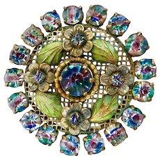 Czech, Neiger, Iris Glass, and Lime Green Enamel Brooch