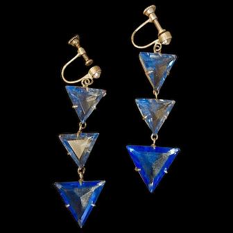 Art Deco, Czech, Blue Crystal, Triangle, Screw back earrings