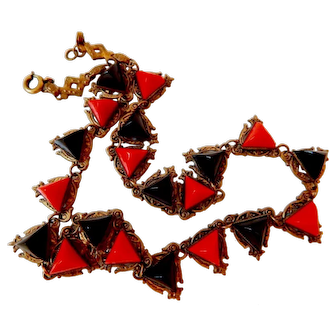 Neiger, Czech, Black and Lipstick Red, Art Deco Necklace