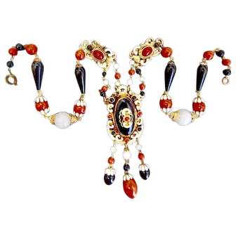 Czech, Neiger, Victorian Revival Red and Black Glass, and Enamel Necklace