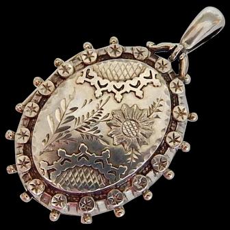 Victorian, Silver, Floral Locket, HM. B'ham 1886