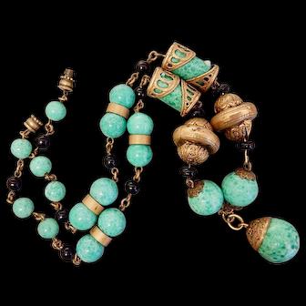 Czech, Neiger, Art Deco Brass, Green Glass Necklace