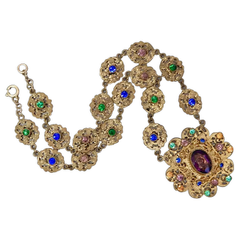 Czech, Neiger, Victorian Revival, '20's era Filigree Brass & Multi-Colored Glass Necklace