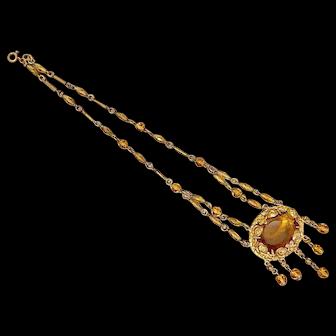 Czech, Neiger, Yellow Glass, Brass, Petite Necklace