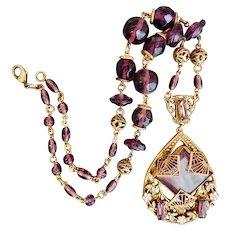 Neiger, Czech, Filigree Brass, Enamel, Purple Glass Necklace
