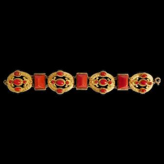 image 0  image 1  image 2  image 3  image 4  image 5  image 6  image 7 Neiger, Czech, Lipstick Red Glass, Gold Plated Brass Bracelet