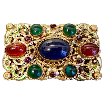 Neiger, Czech, Multi-Colored, Green and White Enamel, Gold Plated, Filigree Brass Brooch