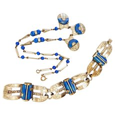 Czech, Machine Age, Art Deco, Silver Plated Brass, Blue Glass Necklace and Bracelet Set
