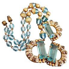 Czech, Neiger, Deco, Light Blue Glass, Brass, White Enamel and Imitation Marcasite Necklace