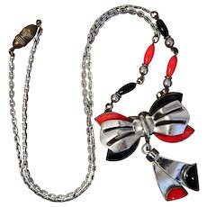 Neiger, Czech, Chrome Plated, Art Deco, Red and Black Molded Glass Necklace