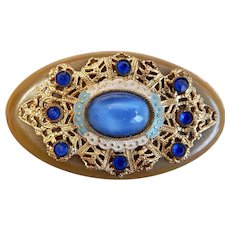 Czech, Neiger, Olive Green Bakelite Brooch with Enamel Accents and Faux Blue Moonstone