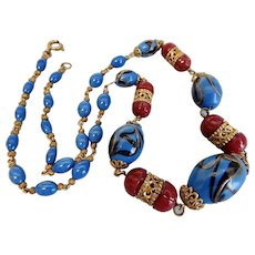 Czech, Neiger, Blue Art and Burgundy Glass Beaded Necklace with Filigree Brass Parts