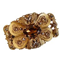 Vintage, Czech, Neiger, Amber-Colored Glass and Gold Plated Brass Brooch