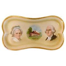Vintage, German, Martha and George Washington Porcelain Ring Tray