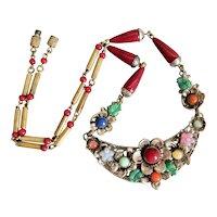 Czech, Neiger, Brass, Multi-Colored Glass, Flower Necklace