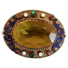 9442c57f5 Czech, Vintage, Neiger, Enamel, Brass, Amber-Colored Glass Brooch