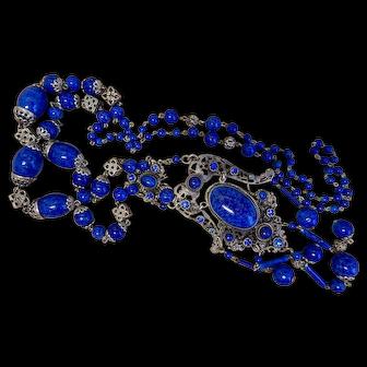 Neiger, Czech, Blue Glass, Silver Plated Filigree Brass, Flapper Necklace