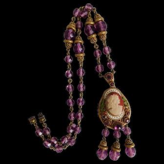 Neiger, Czech, Antique, Victorian Revival Style Purple Glass, Enamel Cameo Necklace