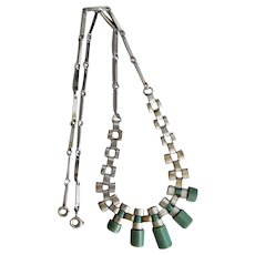 Jakob Bengel, Art Deco, Green Galalith, Chrome Machine Age Necklace