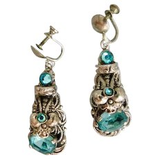 Vintage, Czech, Neiger, Silver Plated Brass, Light Turquoise Color Glass Screw-Back Earrings
