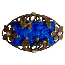 Czech, Brass, Blue Molded Glass Brooch
