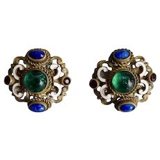 Czech, Neiger, Vintage, Brass, White Enamel, Multi Color Glass, Screw Back Earrings
