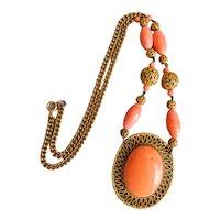 Vintage, Czech, Neiger, Filigree Brass, Coral-Color Glass Necklace