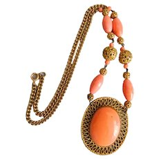 Vintage, Czech, Neiger, Filigree Brass, Coral-Color Glass Necklace