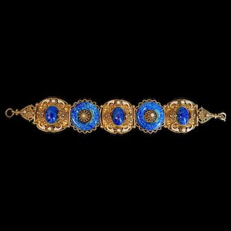 Max Neiger, Czech, Vintage, Blue Glass, Brass and Enamel Bracelet