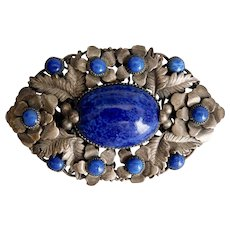 Montana Blue And Silver And Black Art Glass Pin Brooch