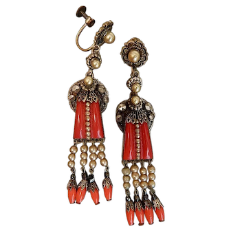 Czech, Neiger, Red Molded Glass, Screwback, Brass , and Simulated Pearl Earrings