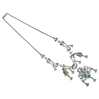 Egyptian Revival, Vintage, 800 Silver and Enamel Necklace