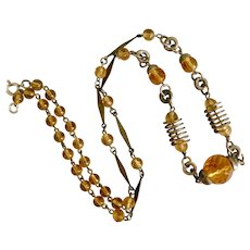Czech, Neiger, Art Deco, Silver Plated Brass, Amber-Color Glass, Necklace