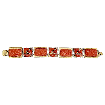 Czech, Neiger, Lipstick Red, Art Deco, Molded Glass, and Brass Bracelet