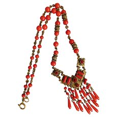 Max Neiger Vintage Red Brass Art Deco Necklace