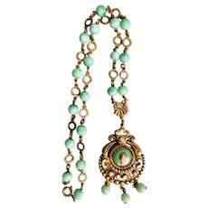 Czech, Neiger, Green Glass, Faux Pearls, Enamel and Gold Plated Brass, Portrait Necklace