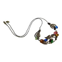 Czech, Neiger, Silver Plated Brass, Multi Colored Glass, Faux Marcasite, Necklace