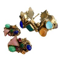 Sandor Gold-Toned Metal, Filigree Brass, Multi-Colored Glass, Deco Bracelet and Earring Set