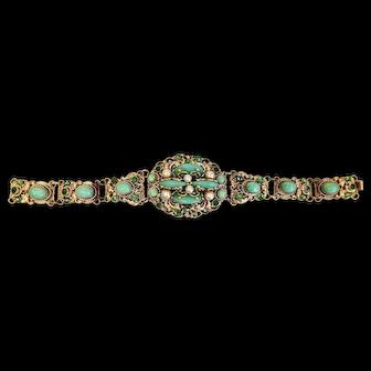 Neiger, Czech, Green Glass, Simulated Pearl Bracelet