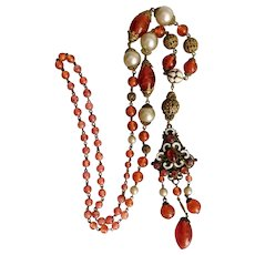 Neiger, Czech, Red Art Glass, Faux Pearls, Filigree Brass, White Enamel, Flapper Necklace