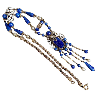 Czech, Neiger, Blue Lapis Glass, Enamel, Simulated Pearl Necklace