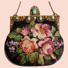 Beautiful, Petit Point, Floral Evening Bag, Czech, Multi-Colored Glass Stones Jeweled By Neiger