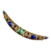Czech, Neiger, Vintage, Brass, and Enamel, Jeweled Handle