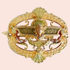 Czech, Brass, and Enamel, Egyptian Revival Style Hair Barette