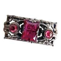 Czech, Neiger, Silver Plated Brass, Cranberry Red Colored Glass, Brooch