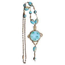 Neiger, Egyptian Revival, Light Blue Color and Simulated Aventurine Glass Necklace