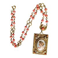 Czech, Neiger, Vintage, Coral-Colored Glass, Enamel, and Brass Portrait Necklace