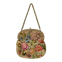 Vintage, Floral, Multi Colored, Needlepoint Purse