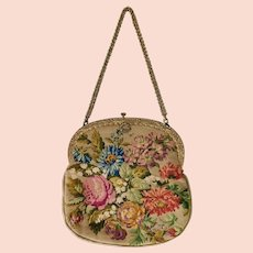 Vintage, Floral, Multi Colored, Needlepoint Purse